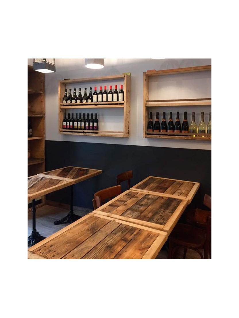 Tavolo quadrato in legno riciclato con gamba in ferro nero - Tavolo quadrato legno ...